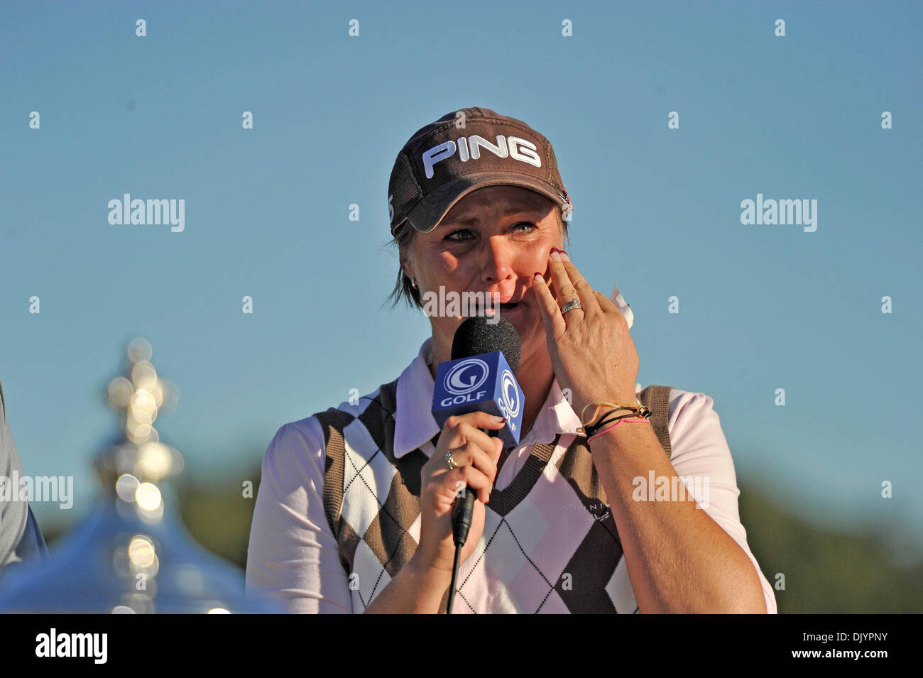 Dec. 5, 2010 - Orlando, Florida, United States of America - A teary eyed Maria Hjorth thanks her fans after winning the LPGA Tour Championship at Grand Cypress Golf Club in Orlando,  Maria Hjorth wins the LPGA Tour Championship tournament, while Yani Tseng takes the Player of the Year award for 2010 (Credit Image: © Brad Barr/Southcreek Global/ZUMAPRESS.com) - Stock Image
