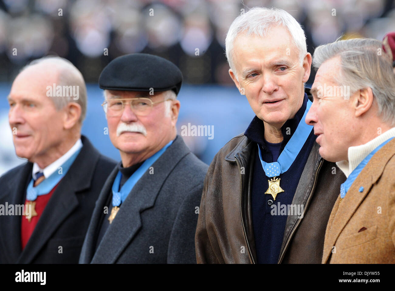 Dec. 11, 2010 - Philadelphia, Pennsylvania, United States of America - Medal of Honor recipients participate in the coin flip during Saturday afternoon's game between the Army and the Navy at Lincoln Financial Field in Philadelphia, PA. Navy leads Army 10-0 after the first quarter. (Credit Image: © Russell Tracy/Southcreek Global/ZUMAPRESS.com) - Stock Image