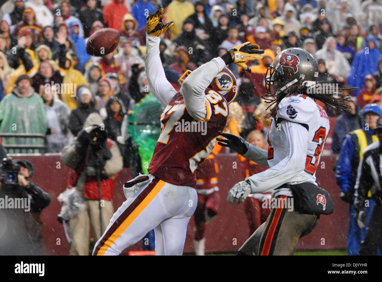 Dec. 12, 2010 - Landover, Maryland, United States of America - Roydell Williams (87) of the Washington Redskins overthrown with seconds left at games end, FedEx Field NFL game action, final score; Buccaneers 17 Redskins 16 (Credit Image: © Roland Pintilie/Southcreek Global/ZUMAPRESS.com) - Stock Image