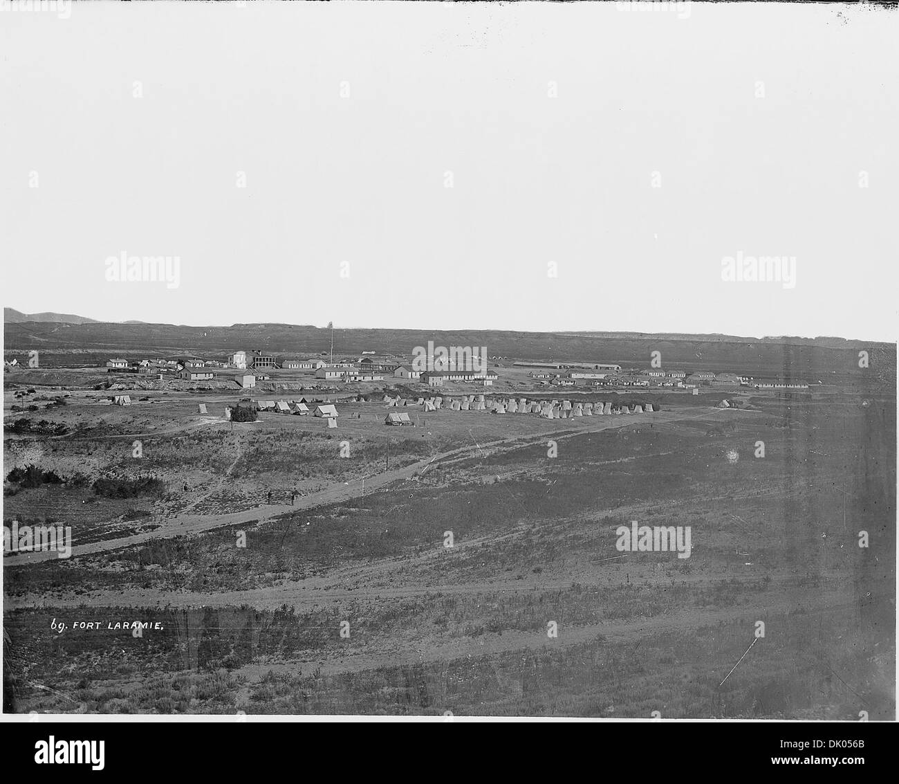 Fort Laramie. Post as it appeared in 1868. Orginally located as a fur trading post in 1834, known as Fort William... 516878 - Stock Image