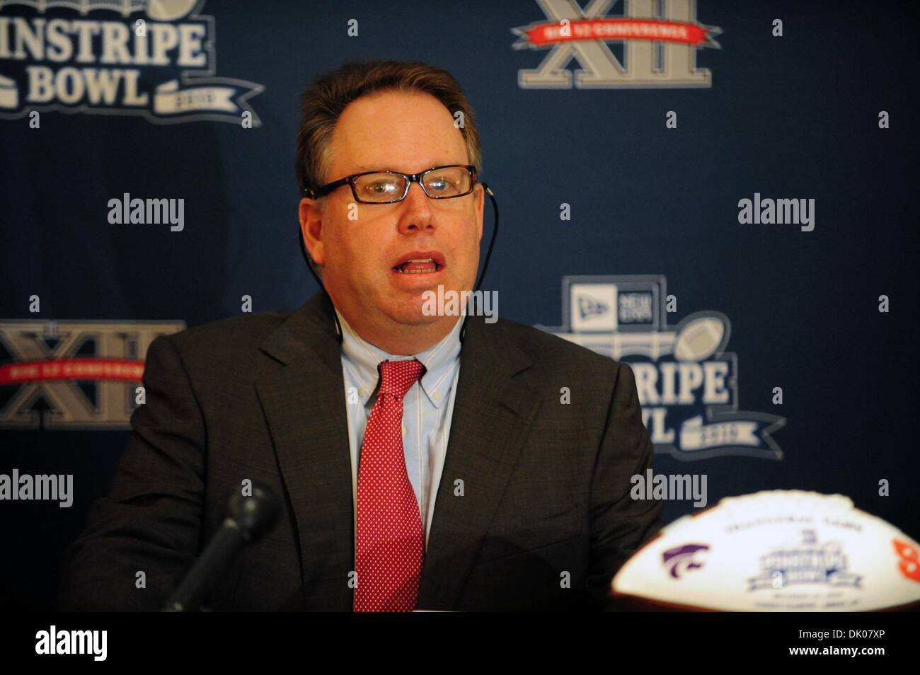 Dec. 22, 2010 - Manhattan, New York, U.S. - MARK HOLTZMAN, Executive Director of the New Era Pinstripe Bowl speaks as the New Era Pinstripe Bowl announces that it will donate over 6,000 tickets to New York City - based charitable and community groups for the inaugural bowl game to be played on December 30, 2010 at Yankee Stadium. (Credit Image: © Bryan Smith/ZUMAPRESS.com) - Stock Image