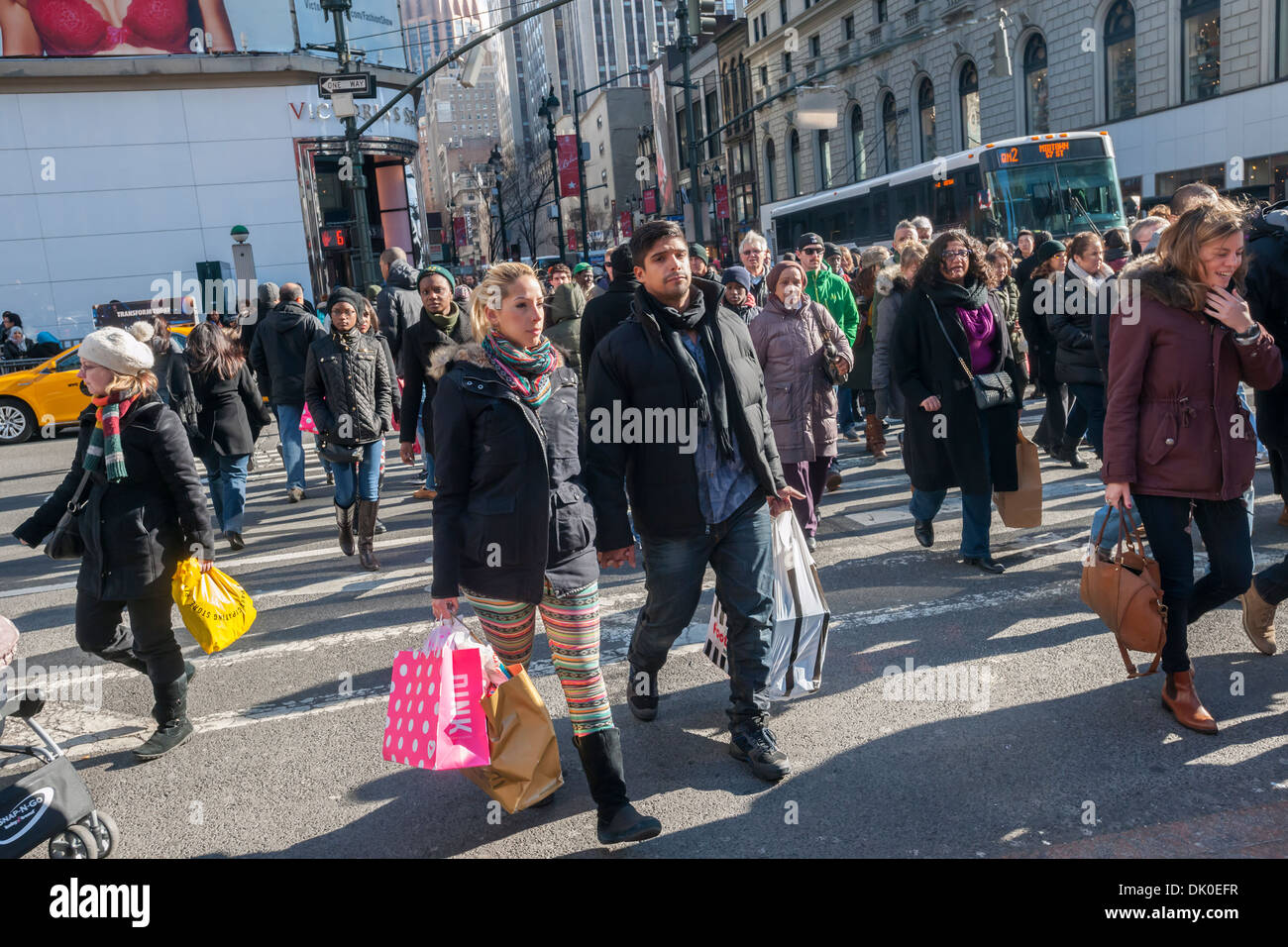 cb742be086 Shoppers in Herald Square outside Macy s Herald Square flagship store in  New York