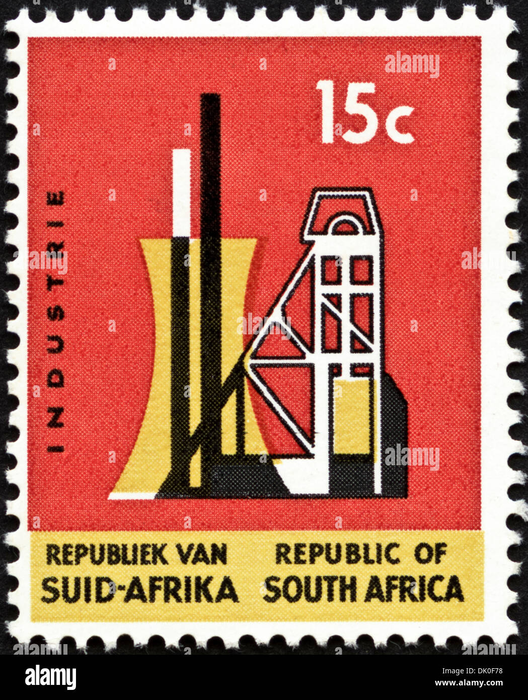 postage stamp Republic of South Africa 15c featuring Industry issued 1967 - Stock Image