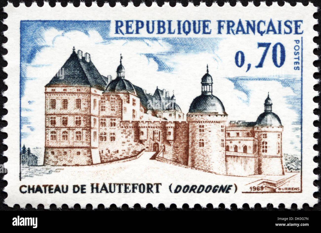postage stamp French Republic 0,70 featuring Chateau De Hautefort ( Dordogne ) issued 1969 - Stock Image