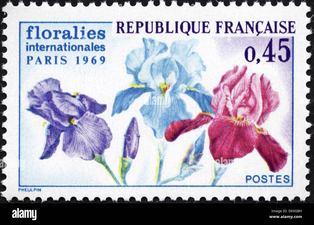 postage stamp French Republic 0,45 featuring International Floral Exhibition 1969 issued 1969 Stock Photo