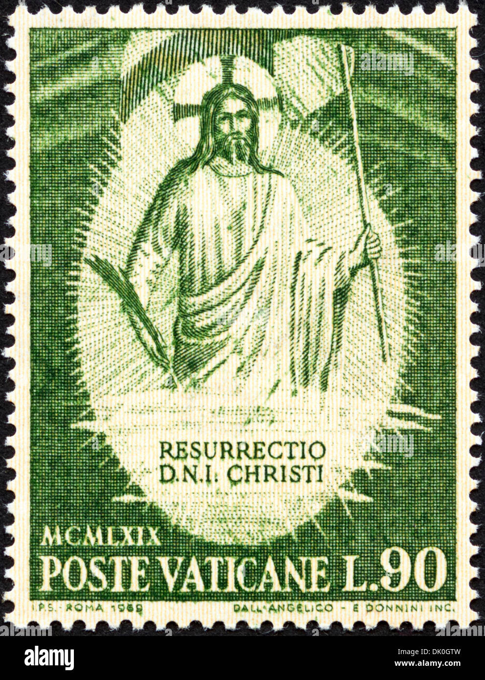 postage stamp Vatican L.90 featuring Resurrection of Christ issued 1969 - Stock Image