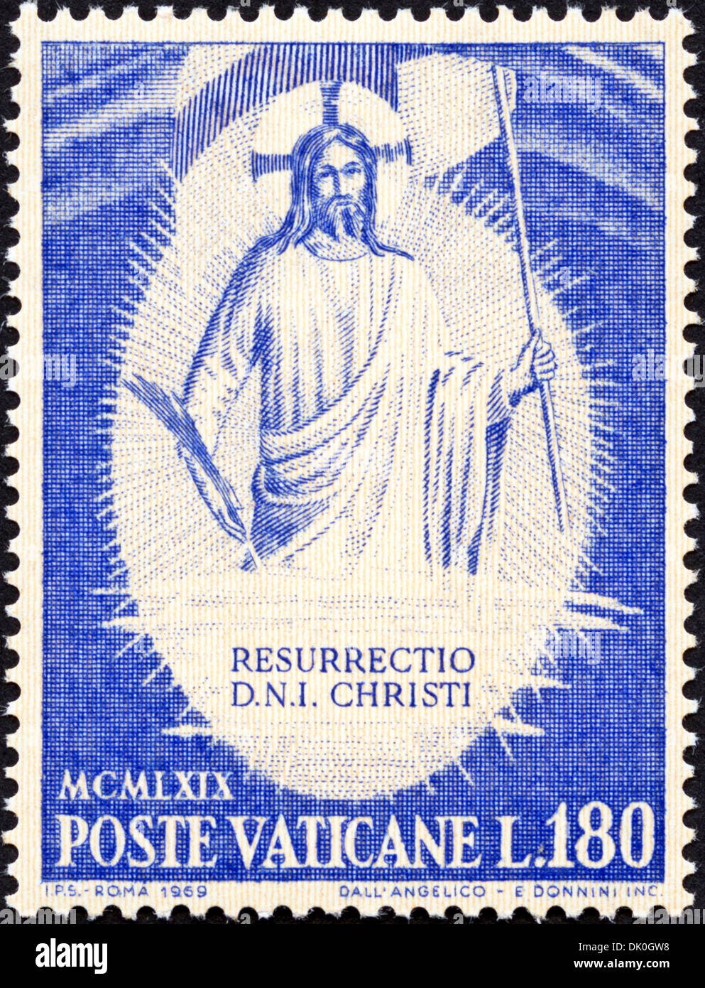postage stamp Vatican L.180 featuring Resurrection of Christ issued 1969 - Stock Image