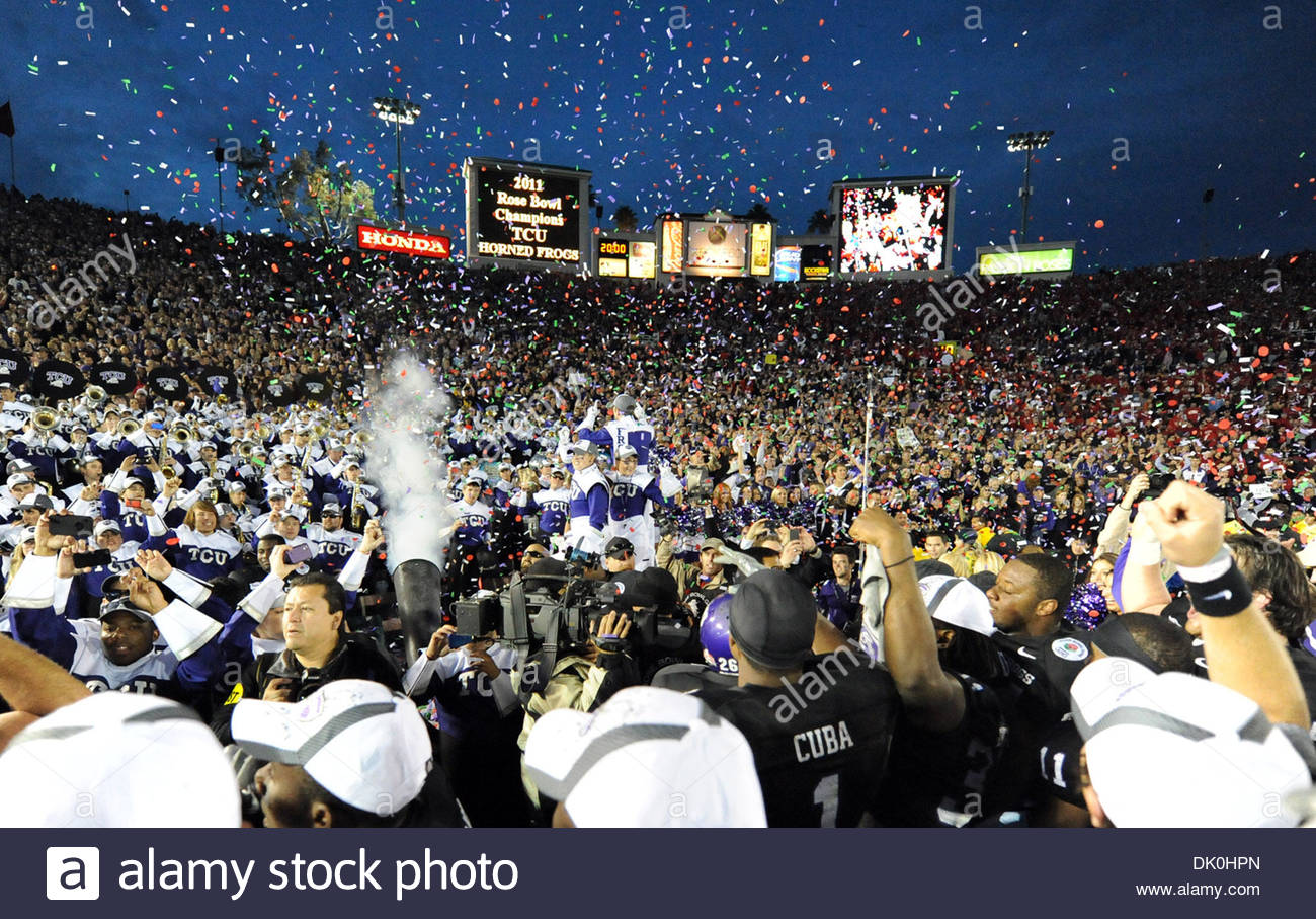 Jan. 01, 2011 - Pasadena, California, U.S. - TCU Horned Frogs' celebrates as TCU beat Wisconsin 21-19 the 97th Rose Bowl Game on Saturday, January 1, 2011, in Pasadena. (SGVN/Staff Photo by Keith Birmingham/SPORTS) (Credit Image: © San Gabriel Valley Tribune/ZUMAPRESS.com) - Stock Image