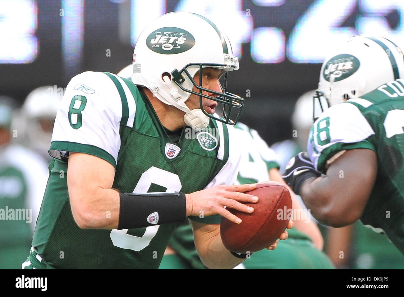 Jan. 2, 2011 - East Rutherford, New Jersey, U.S - New York Jets quarterback Mark Brunell (8) in action during the final regular season game at The New Meadowlands Stadium in East Rutherford New Jersey (Credit Image: © Brooks Von Arx/Southcreek Global/ZUMAPRESS.com) - Stock Image