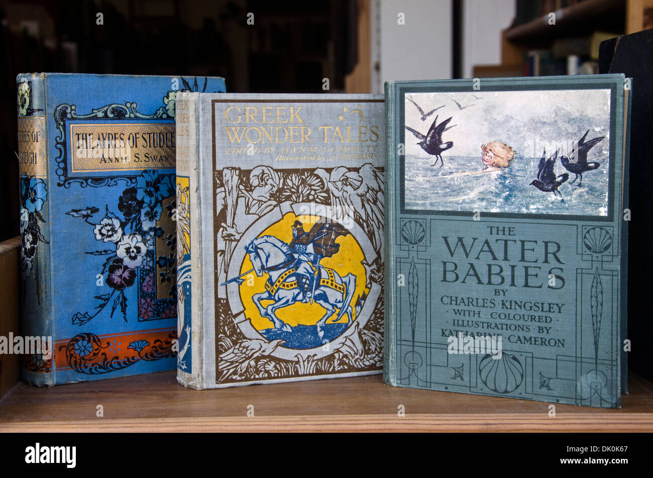 Vintage books for sale in the window of a secondhand bookshop, Edinburgh, Scotland. - Stock Image