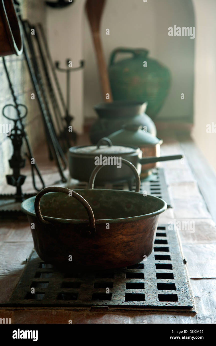Pots on stove, Casa Blanca Museum, Old San Juan, Puerto Rico Stock Photo