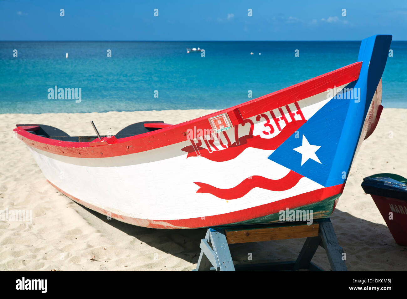 Fishing Boat With Puerto Rican Flag Crashboat Beach Aguadilla Rico