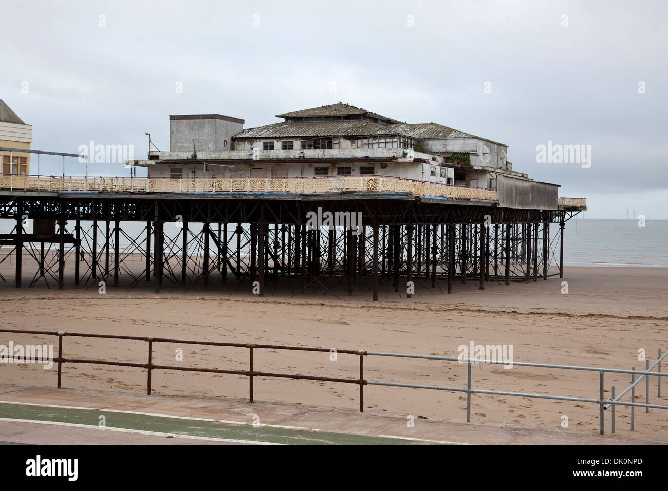 The former derelict Victoria Pier at Colwyn Bay on the North Wales coast opened in 1900 and closed to the public July 2008 - Stock Image