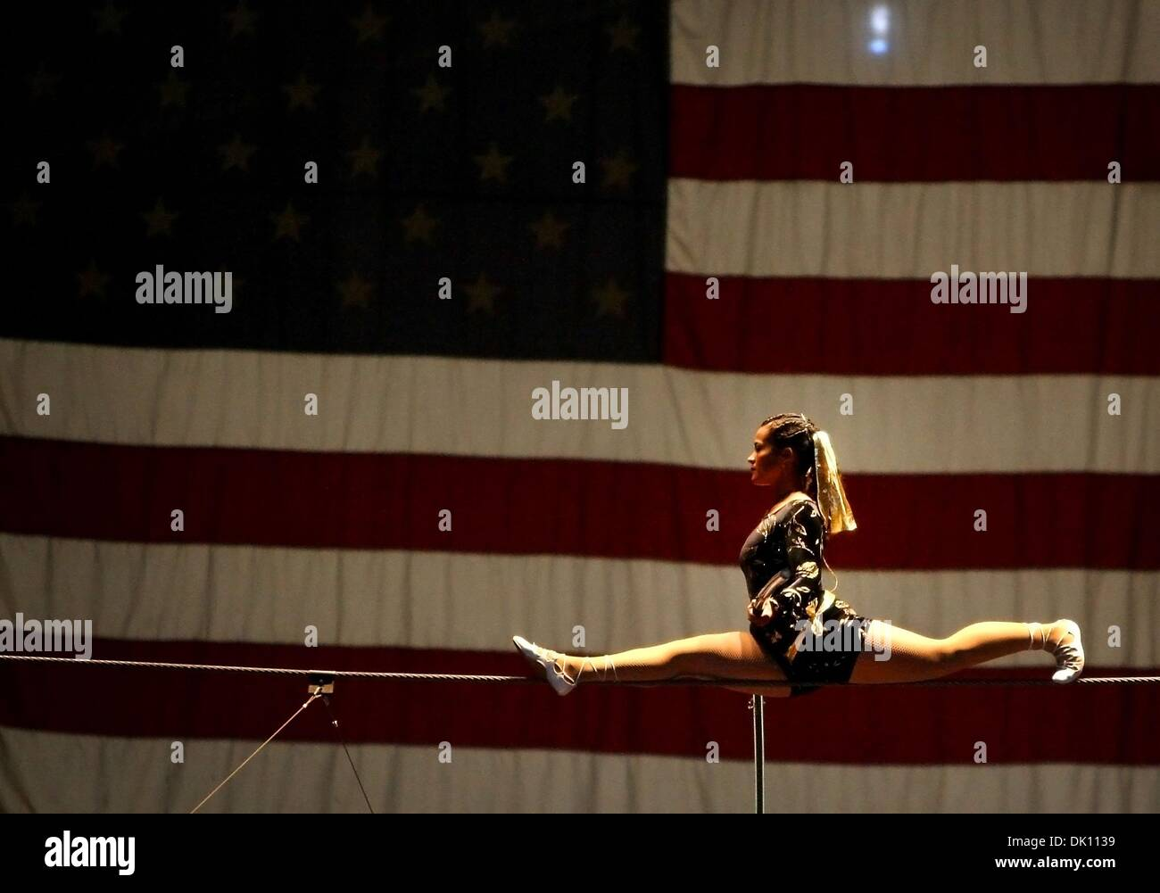 Feb. 10, 2011 - Memphis, Tennessee, U.S. - ALEXIA WALLENDA performs on a tight rope with the ''World Famous Wallendas'' during a matinee showing of the Al Chymia Shrine Circus at the Showplace Memphis arena. (Credit Image: © The Commercial Appeal/ZUMAPRESS.com) - Stock Image