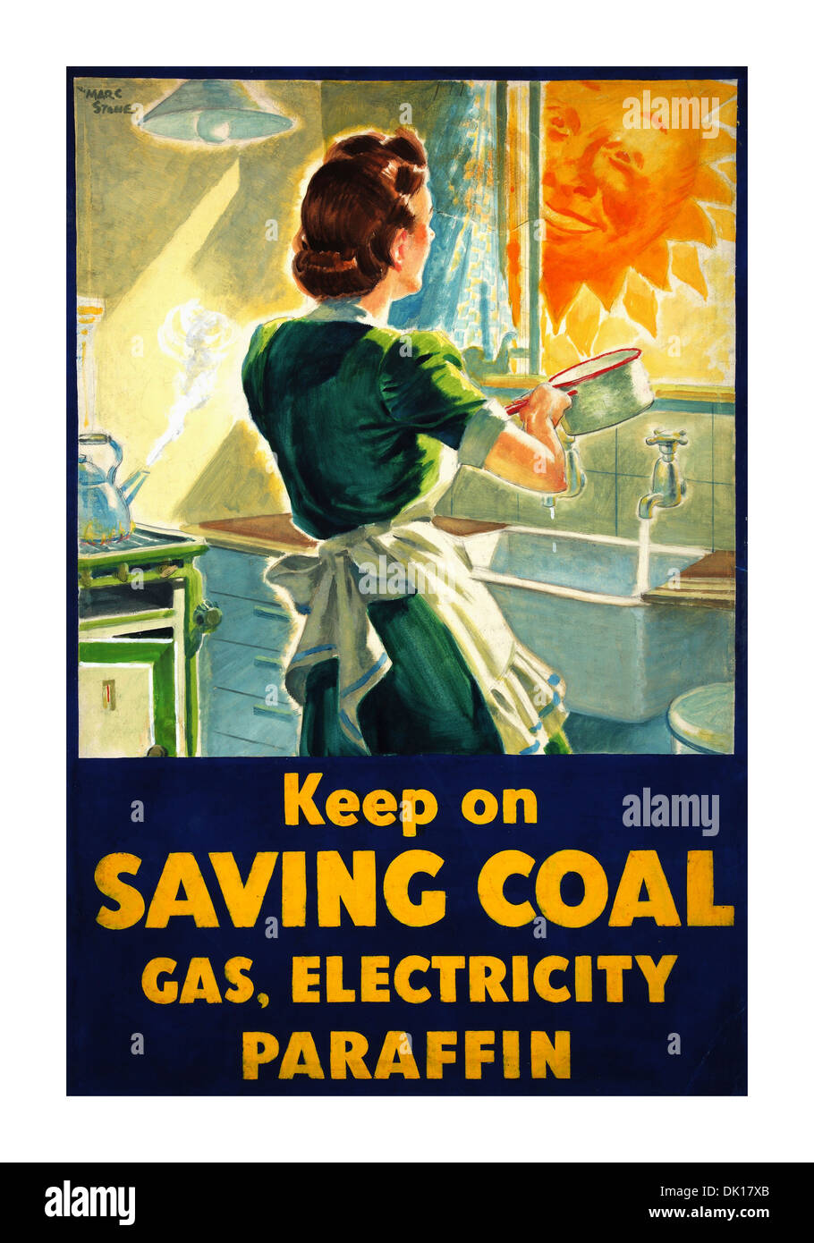 Fuel Economy Keep on saving coal... (housewife at kitchen sink) 1939 WW2 propaganda poster - Stock Image