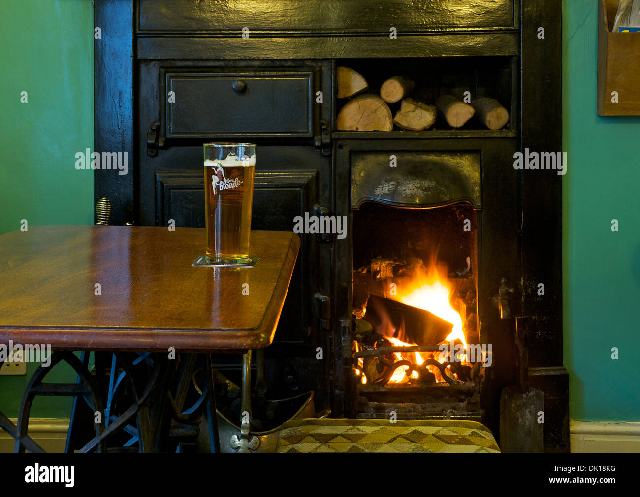 Pint of Dizzy Blonde beer in the Old Friends pub, Soutergate, Ulverston, Cumbria, England UK - Stock Image