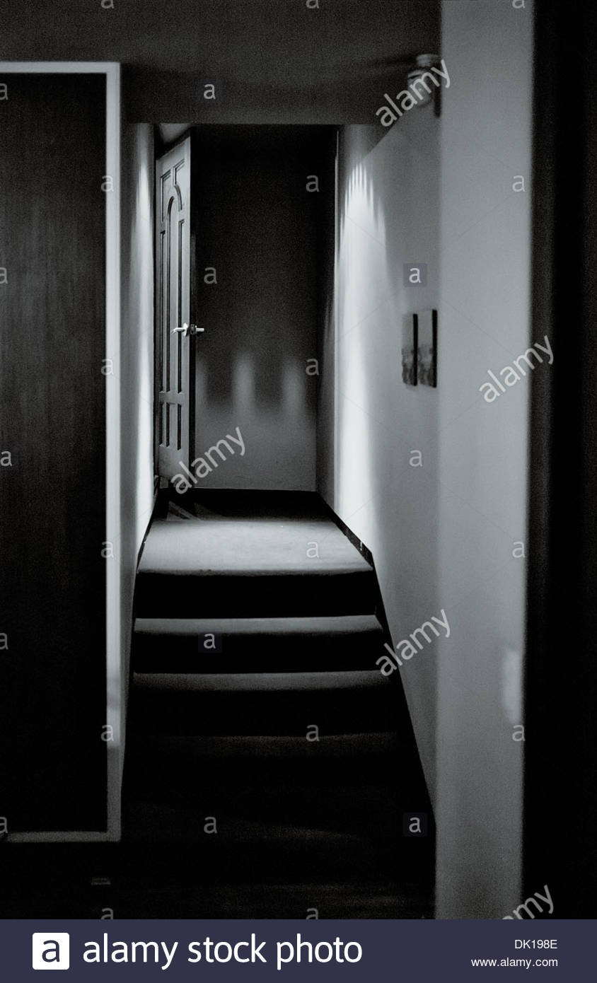 On open doorway on the landing a 'Business Cafe' the South Korean city of Chungju in the North Chungcheong province. - Stock Image