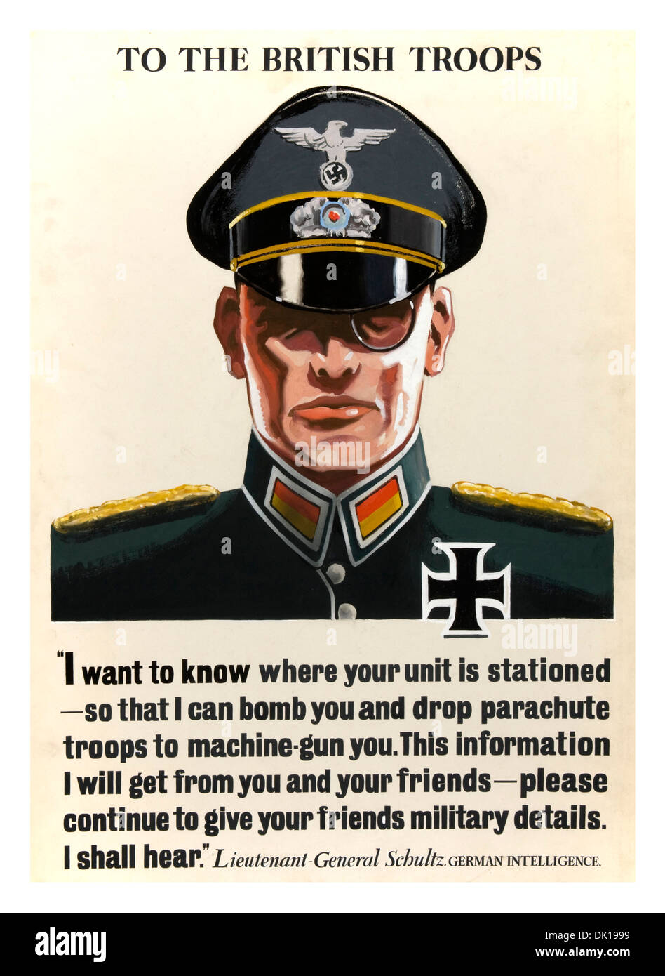 WW2 propaganda poster reminding British troops to keep operational information secret and secure - Stock Image