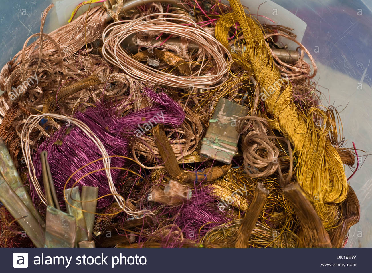 Copper Wire Stock Photos Images Alamy Scrap Harness Tubing In Plastic Container Image