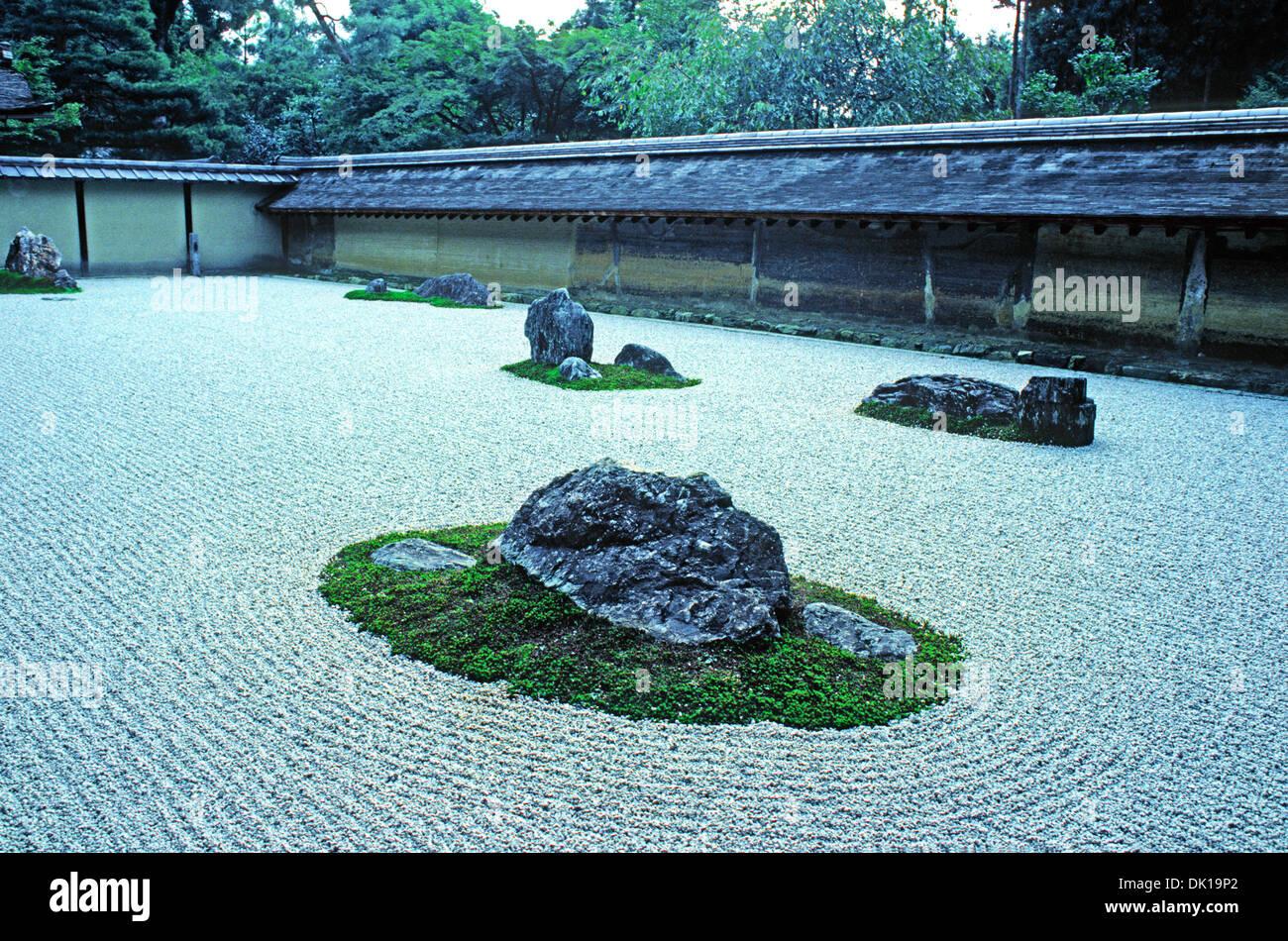 Ryoanji Zen Buddhist Temple Rock Garden In Kyoto.