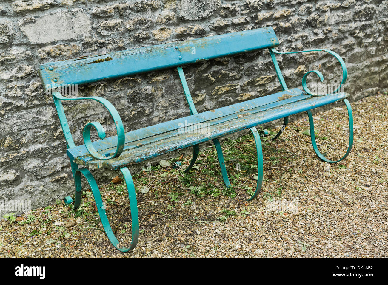 Old Garden Bench With Wooden Slats And Cast Iron Frame