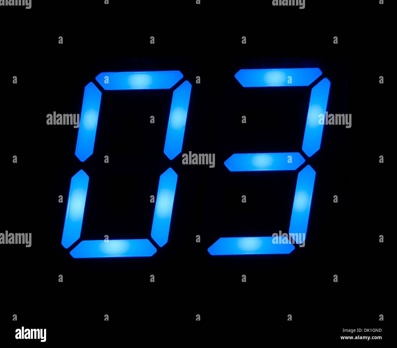 Blue digital number 03 - Stock Image