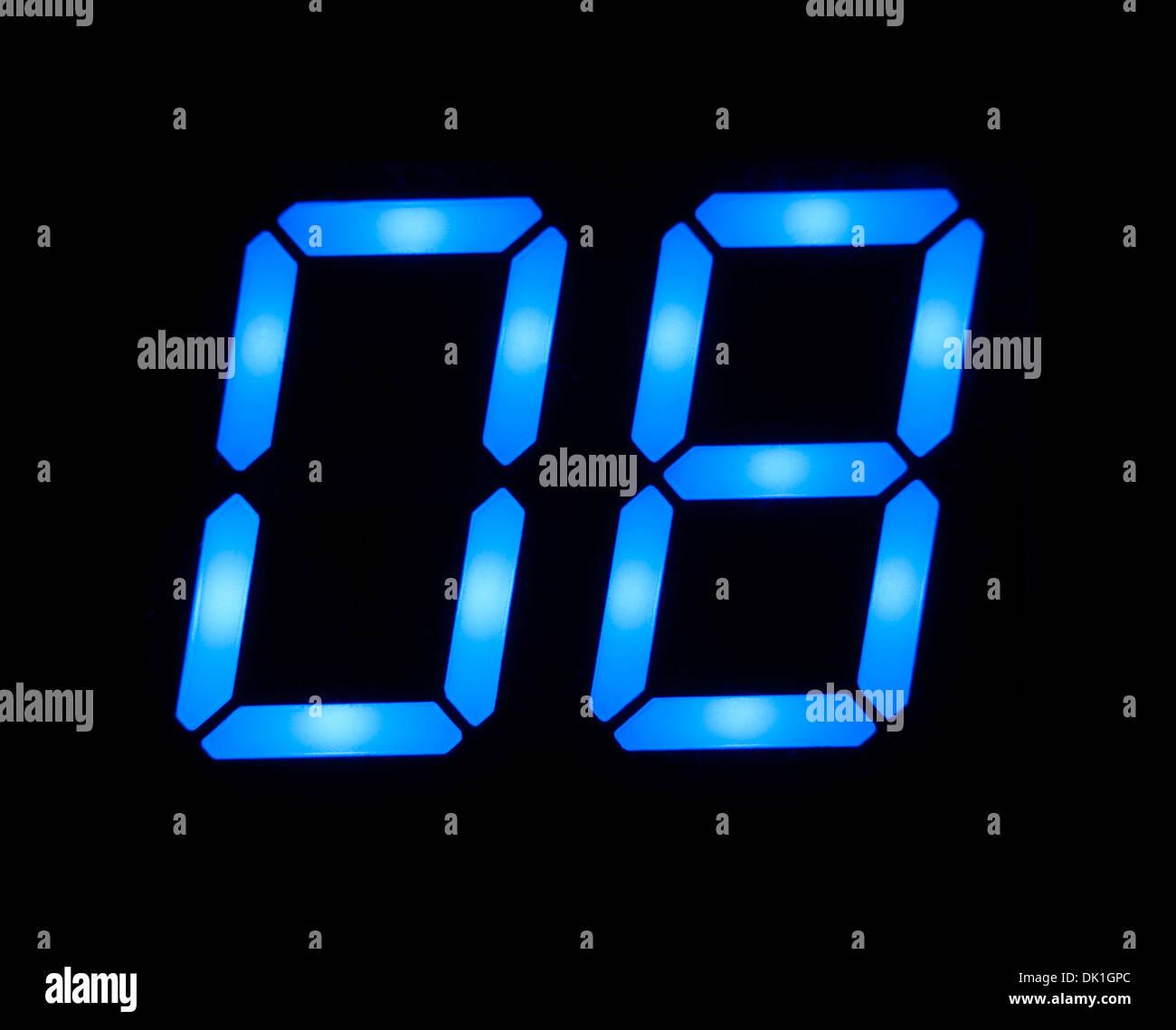 Blue digital number 8 - Stock Image