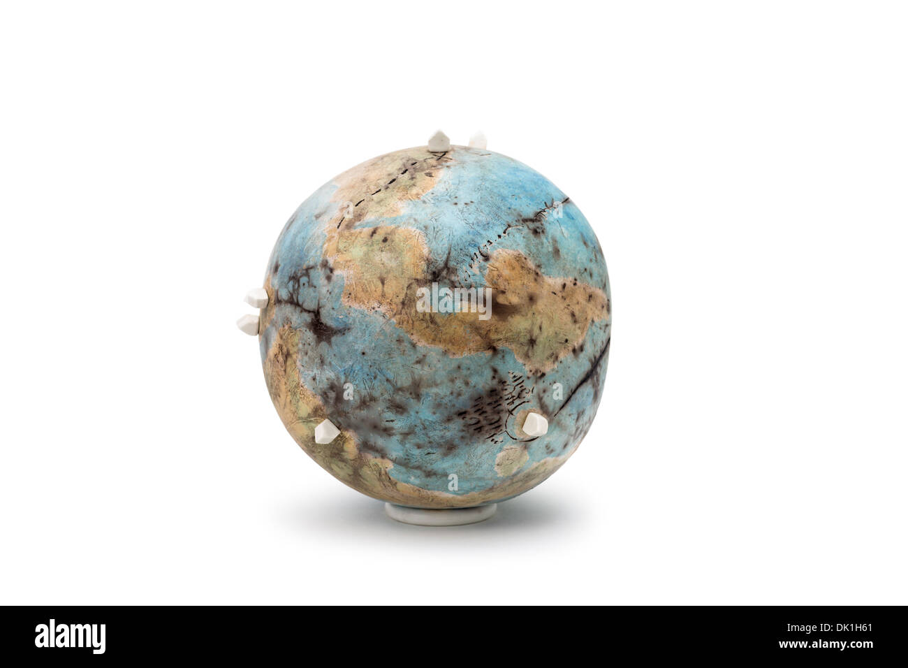 Modern sculpture by Jacques GALLON, ceramist. Fictional and poetic planet. - Stock Image