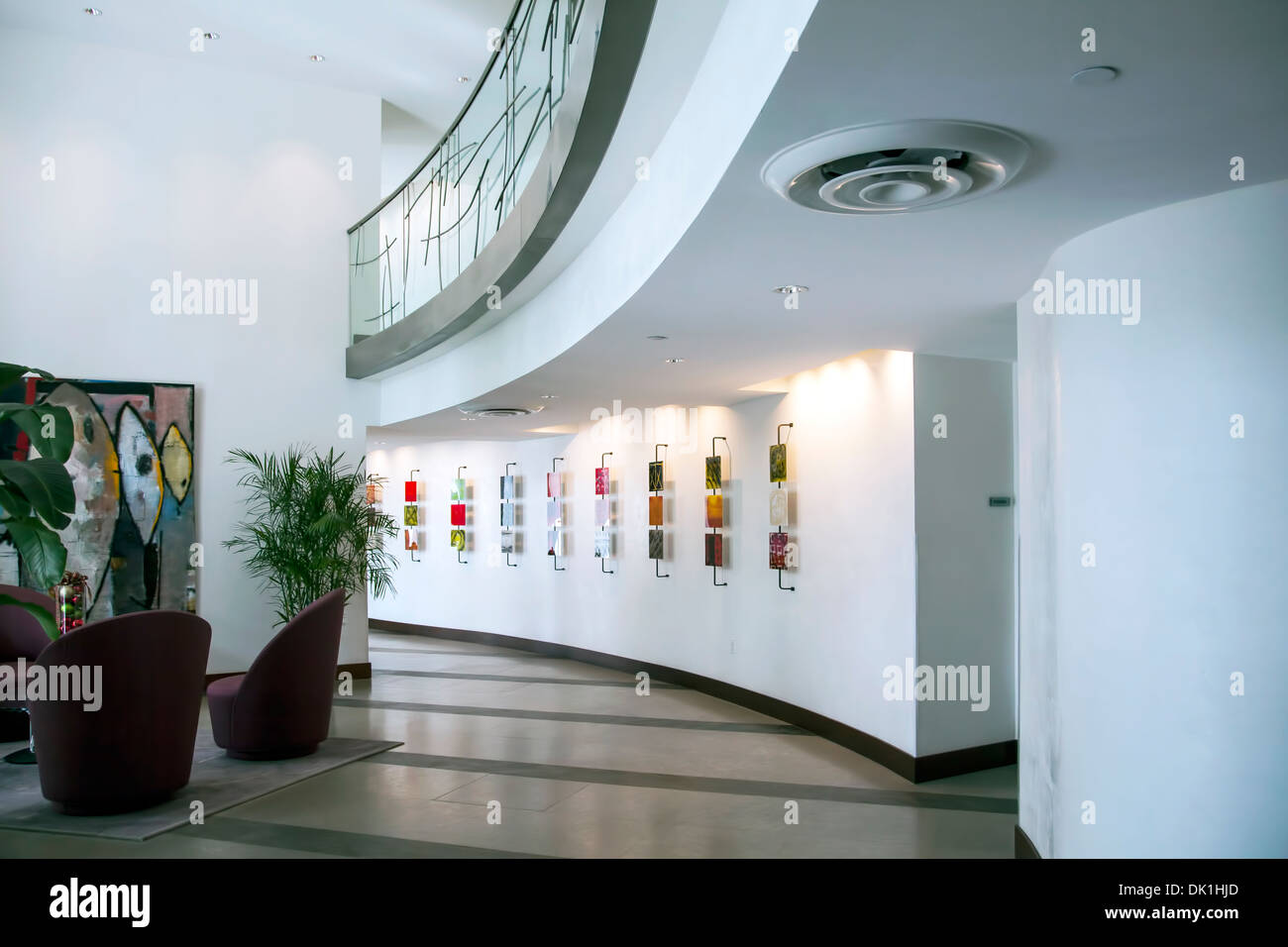 Art and artwork in lobby of the River House Condominiums along the New River in Fort Lauderdale, Florida, USA - Stock Image