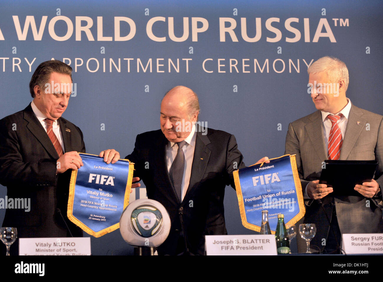 Jan 23, 2011 - St. Petersburg, Russia - FIFA president JOSEPH BLATTER (C) president of Russian Football Union SERGEI FURSENKO (R) and VITALY MUTKO (L) Minister of Sport of Russia at the host country appointment ceremony in Moscow as Russia will host the 2018 World Cup. (Credit Image: © PhotoXpress/ZUMAPRESS.com) - Stock Image