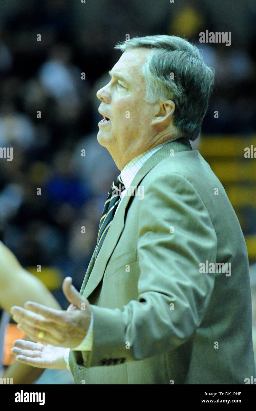 Jan. 27, 2011 - Berkeley, California, United States of America - Cal head coach Mike Montgomery expresses frustration with a call during the NCAA basketball game between the Oregon State Beavers and the California Golden Bears at Haas Pavilion.  Cal won in a rout, 85-57. (Credit Image: © Matt Cohen/Southcreek Global/ZUMAPRESS.com) Stock Photo