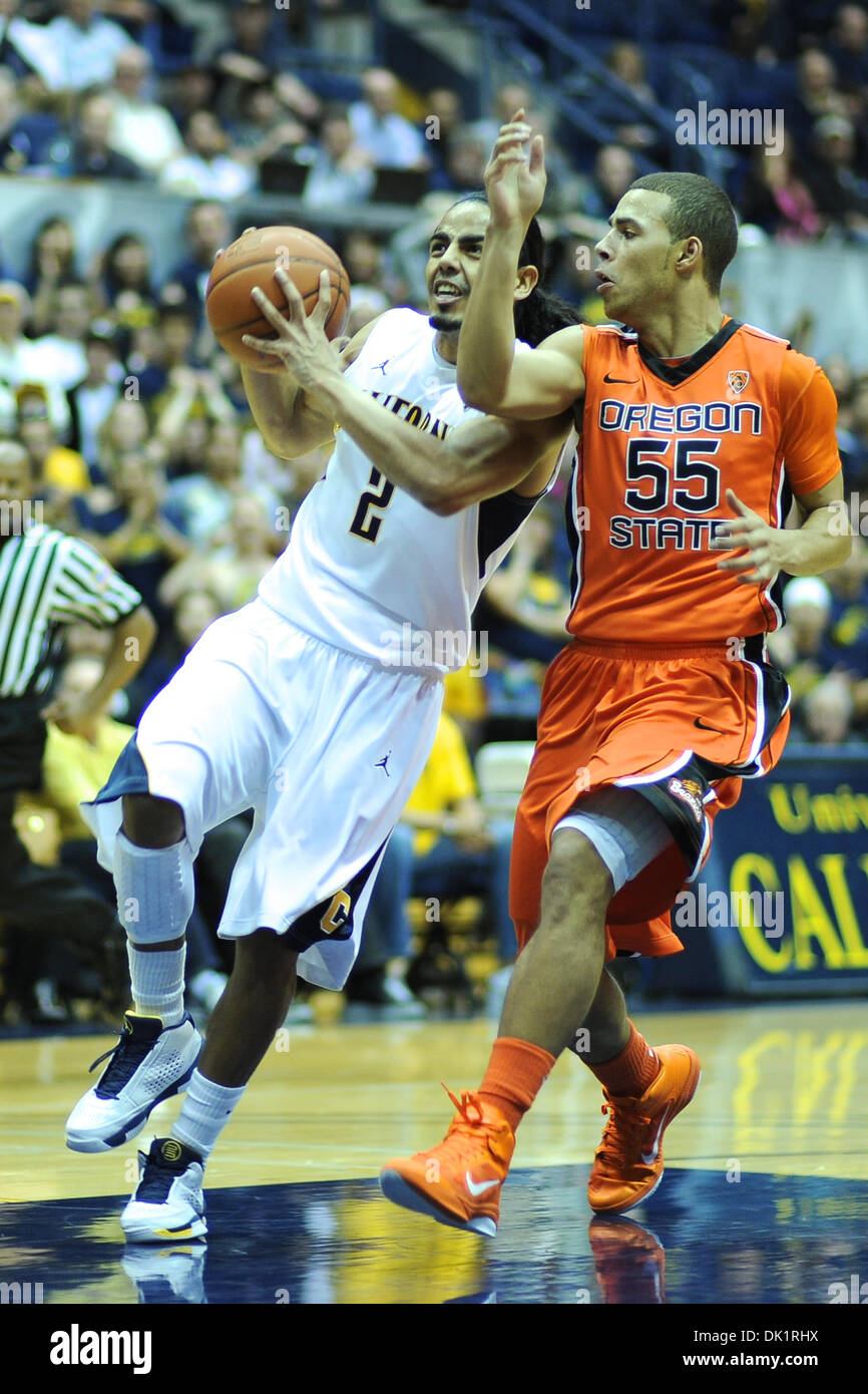 Jan. 27, 2011 - Berkeley, California, United States of America - California Golden Bears guard Jorge Gutierrez (2) drives the lane under pressure from Oregon State Beavers guard Roberto Nelson (55) during the NCAA basketball game between the Oregon State Beavers and the California Golden Bears at Haas Pavilion.  Cal won in a rout, 85-57. (Credit Image: © Matt Cohen/Southcreek Globa Stock Photo