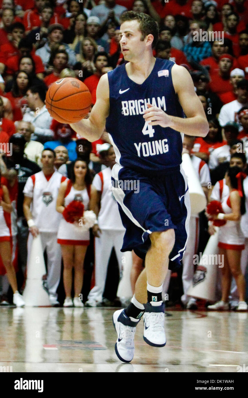 Jan. 29, 2011 - Albuquerque, New Mexico, United States of America - Brigham Young University guard Jackson Emery (#4) working the ball down court. The 9th ranked BYU cougars fell to the New Mexico Lobos at The Pit losing 77-86 in Albuquerque, New Mexico. (Credit Image: © Long Nuygen/Southcreek Global/ZUMAPRESS.com) - Stock Image
