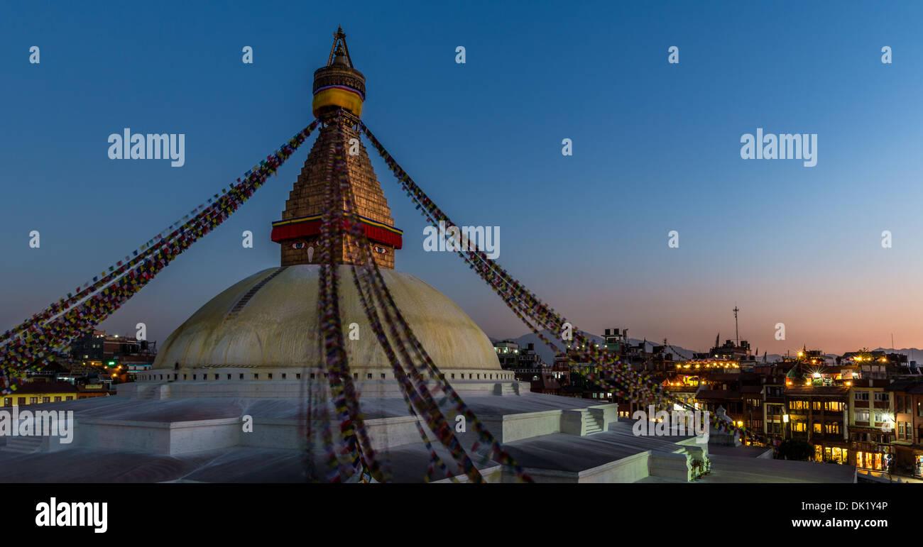 Sunset at Boudhanath Stupa, Kathmandu, Kathmandu Valley, UNESCO World Heritage Site, Nepal Stock Photo
