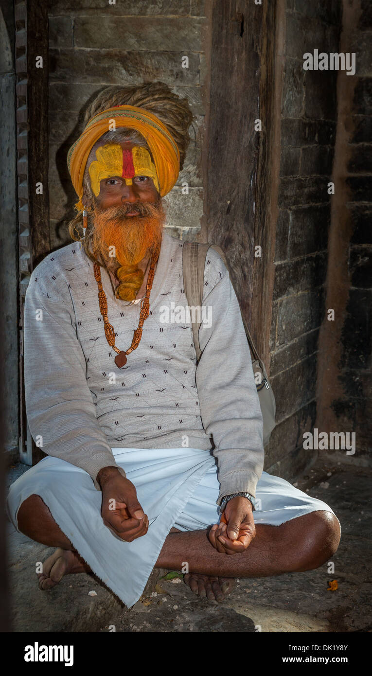 Sadhu, holy man, Pashupatinath, Kathmandu, Nepal - Stock Image