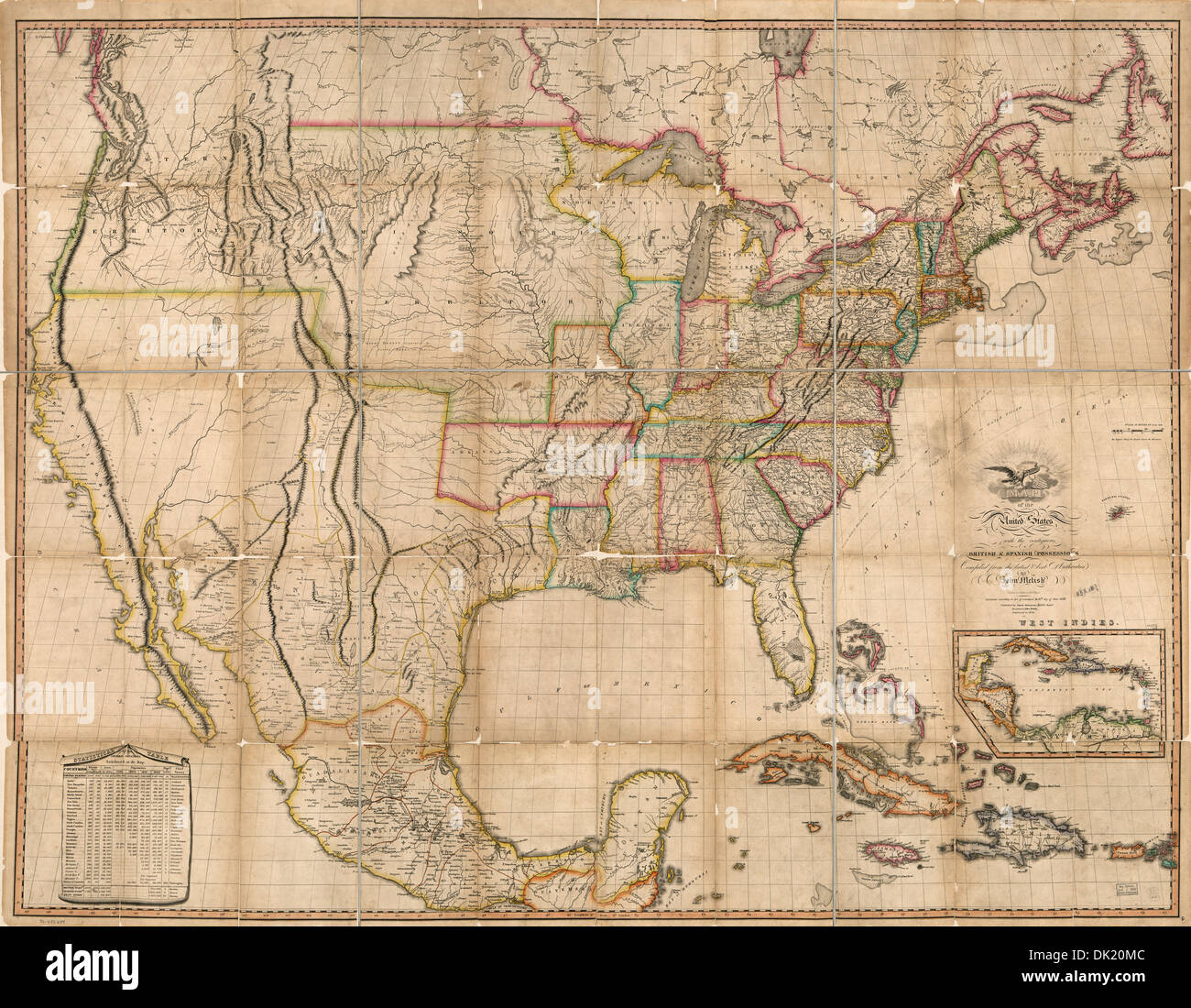 Map of the United States of America : with the contiguous British and Spanish possessions 1823 Stock Photo