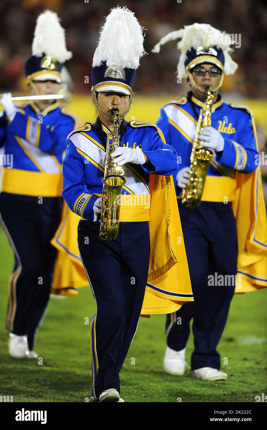 November 30, 2013 Band members of the UCLA Bruins in action during a 35-14 victory over the crosstown rival USC Trojans at the Los Angeles Coliseum in Los Angeles, California. John Pyle/CSM. - Stock Image