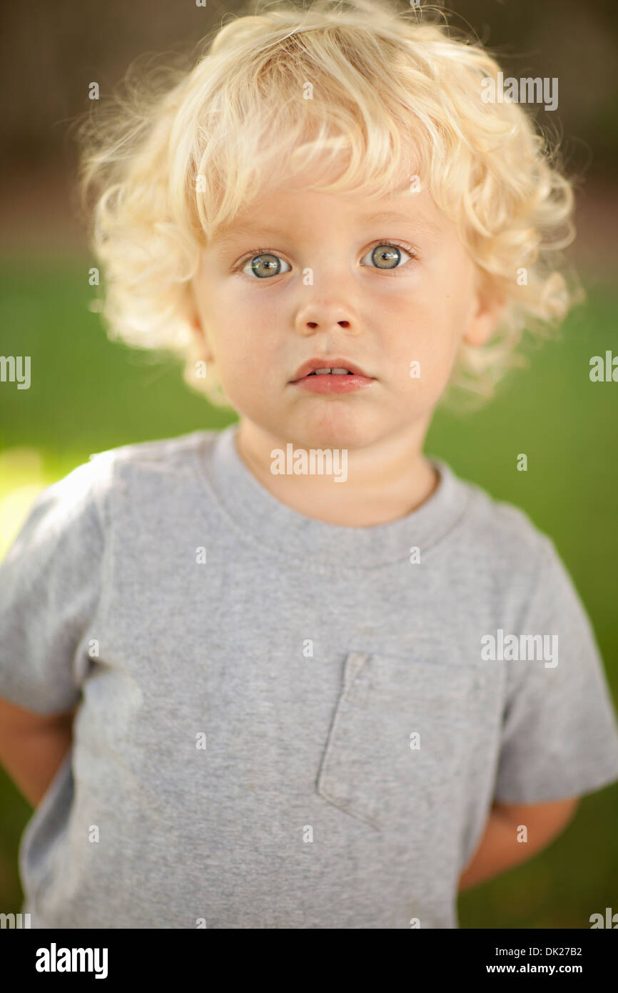 Images Of Boys Painted Bedrooms: Close Up Portrait Of Innocent Blonde Toddler Boy In Gray T
