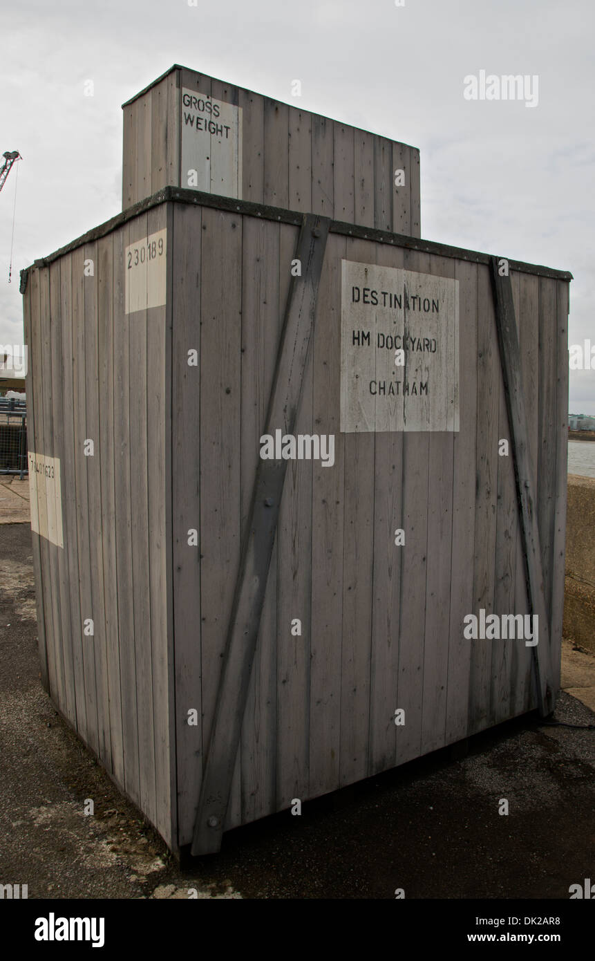Wooden shipping crate at The Historic Dockyard, Chatham, Kent, UK - Stock Image