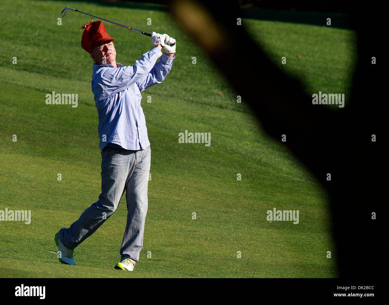 Feb. 12, 2011 - Pebble Beach, California, U.S. - BILL MURRAY chips his ball onto the sixteenth green during the third round of the AT&T Pebble Beach National Pro-Am at Pebble Beach Golf Links in Pebble Beach. (Credit Image: © Monterey Herald/ZUMAPRESS.com) - Stock Image