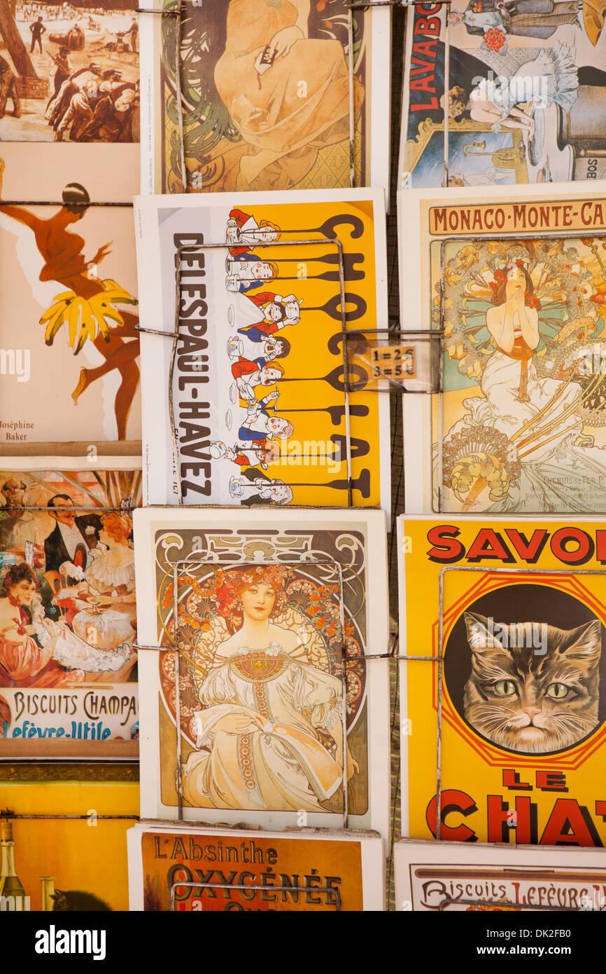 Full frame close up of vintage French postcards, Paris, France - Stock Image
