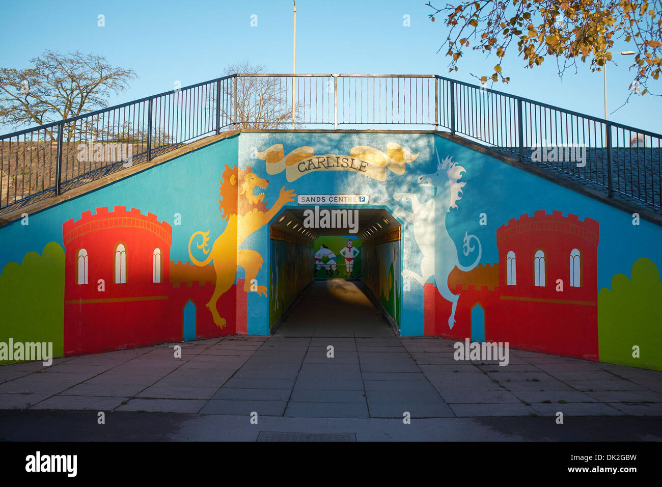 Murals painted on a 1970s subway in Carlisle - Stock Image