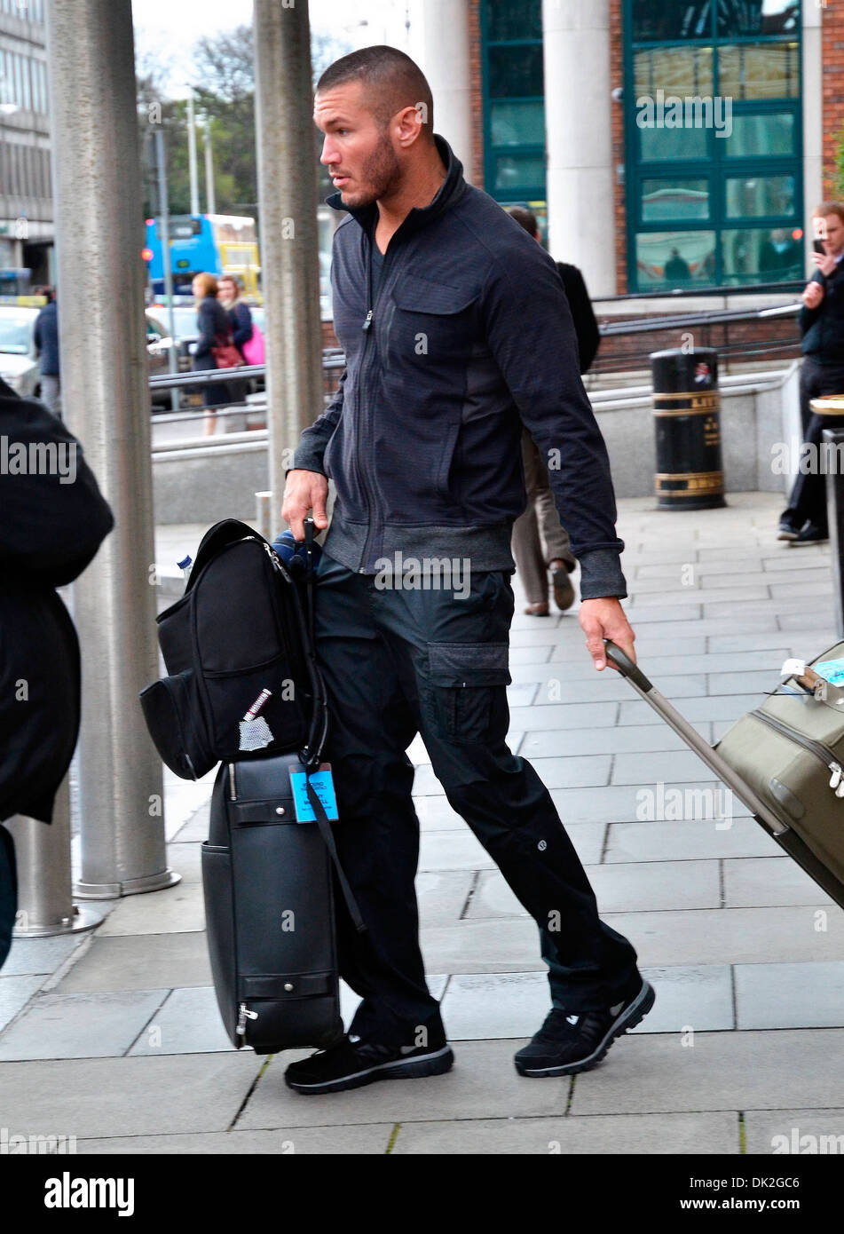 Randy Orton WWE wrestlers outside of their hotel Dublin, Ireland - 12.04.12. Stock Photo