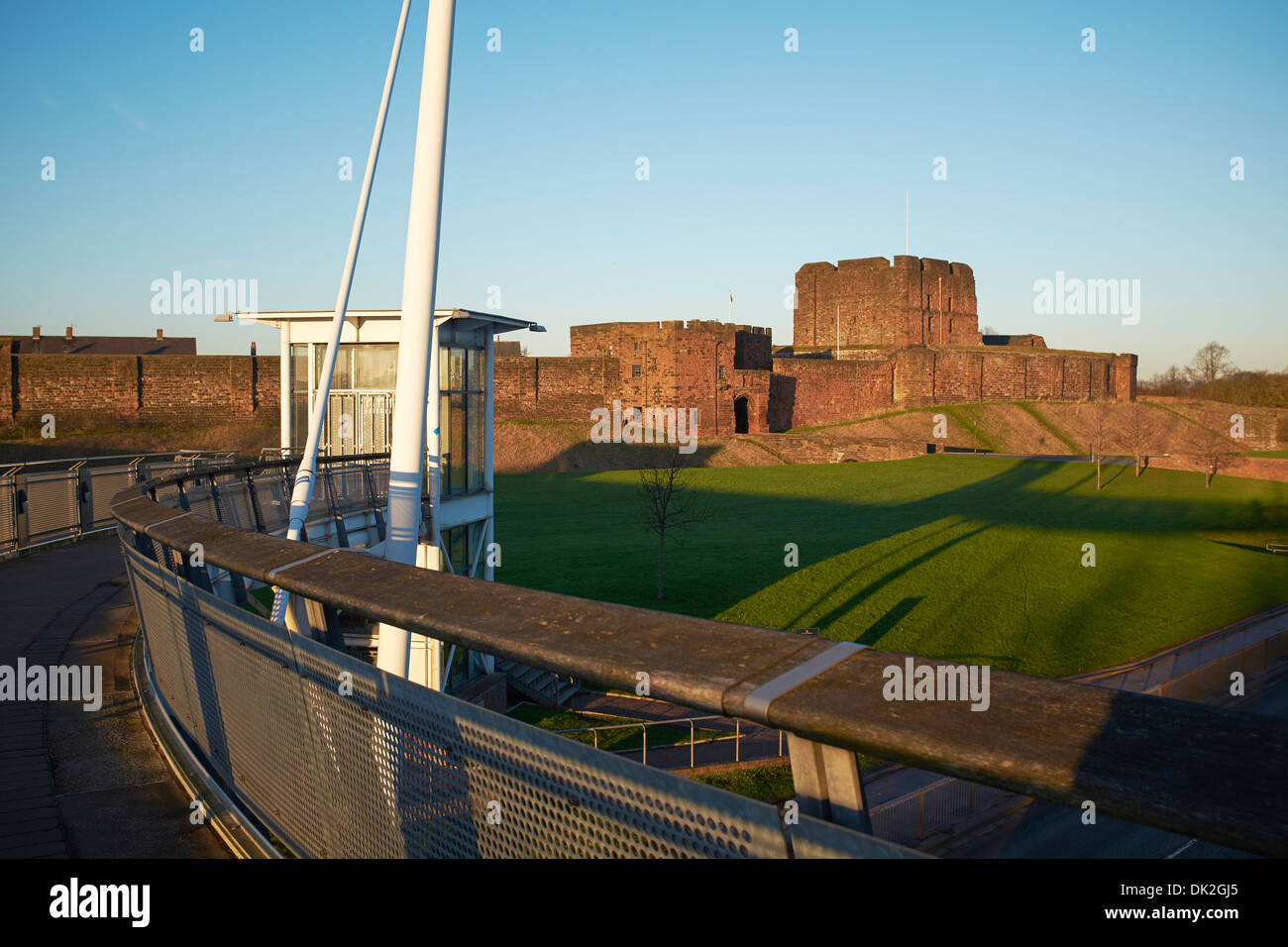 Pedestrian footbridge leading towards Carlisle Castle - Stock Image