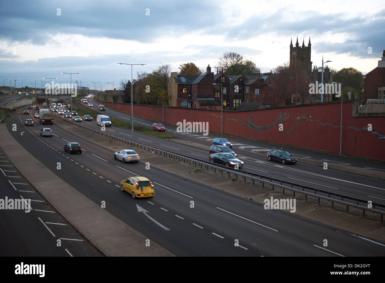 The A500 Queensway dual carriageway passing through Stoke on Trent - Stock Image
