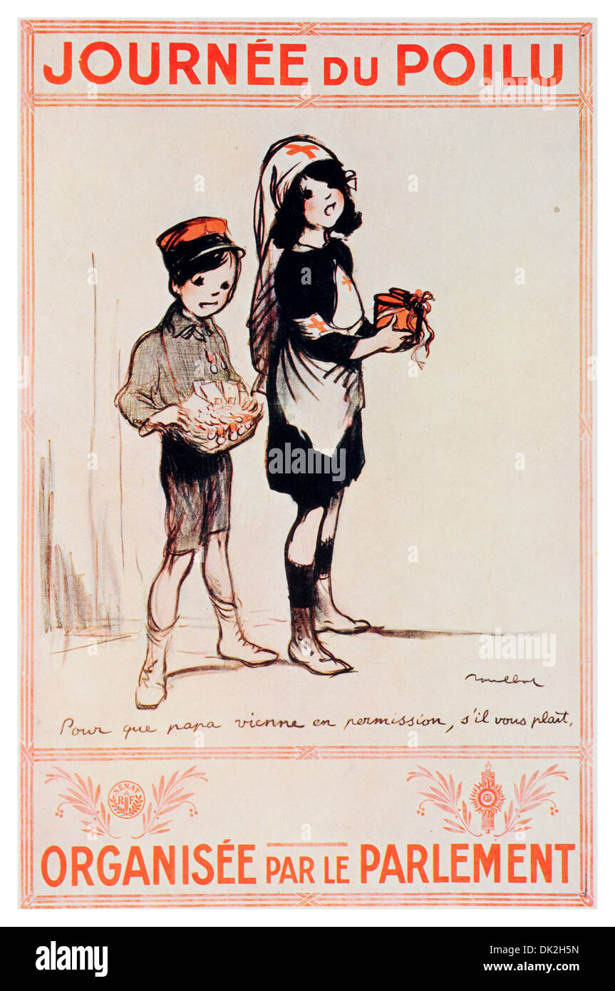 Poster by the Artist, Francisque Poulbot. Titled So that papa may come on leave, if you please. - Stock Image