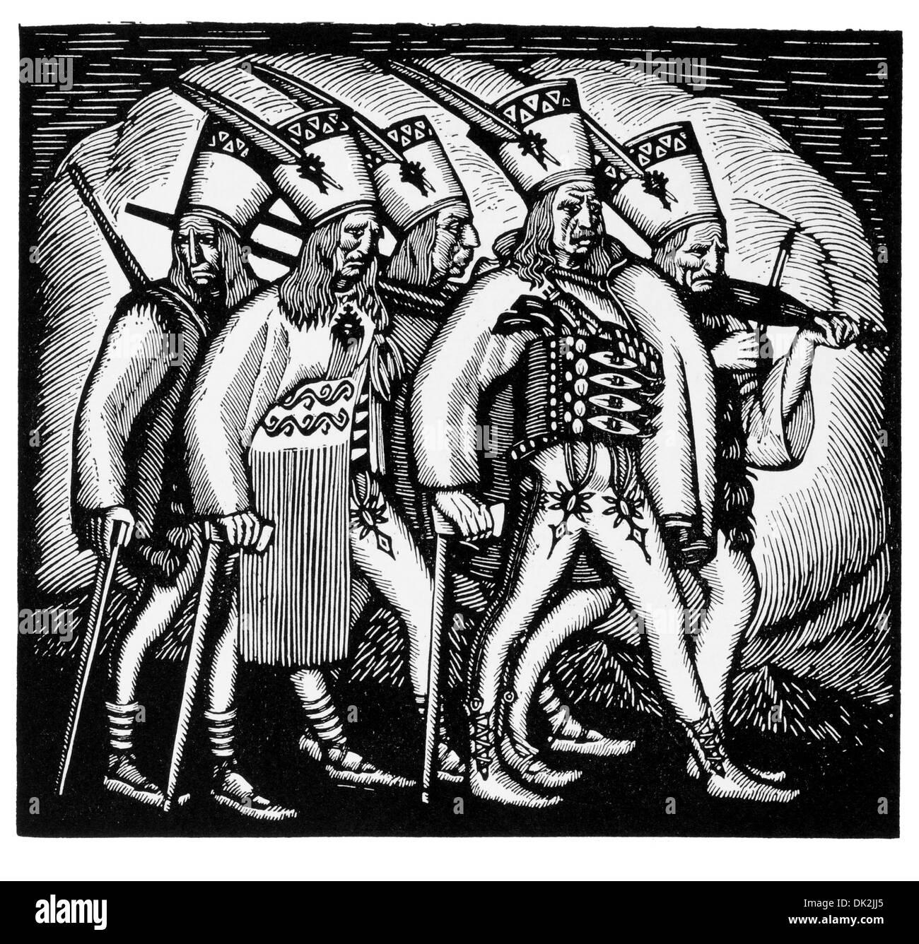 From Wladislaw Skoczylas woodcut for Janosik - Stock Image