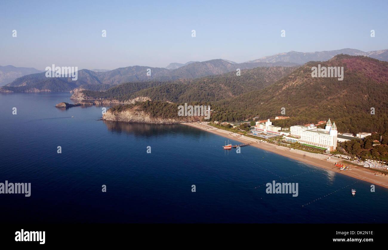 Aerial view of Tekirova Beach and Amara Dolce Vita Hotel Antalya Turkey - Stock Image