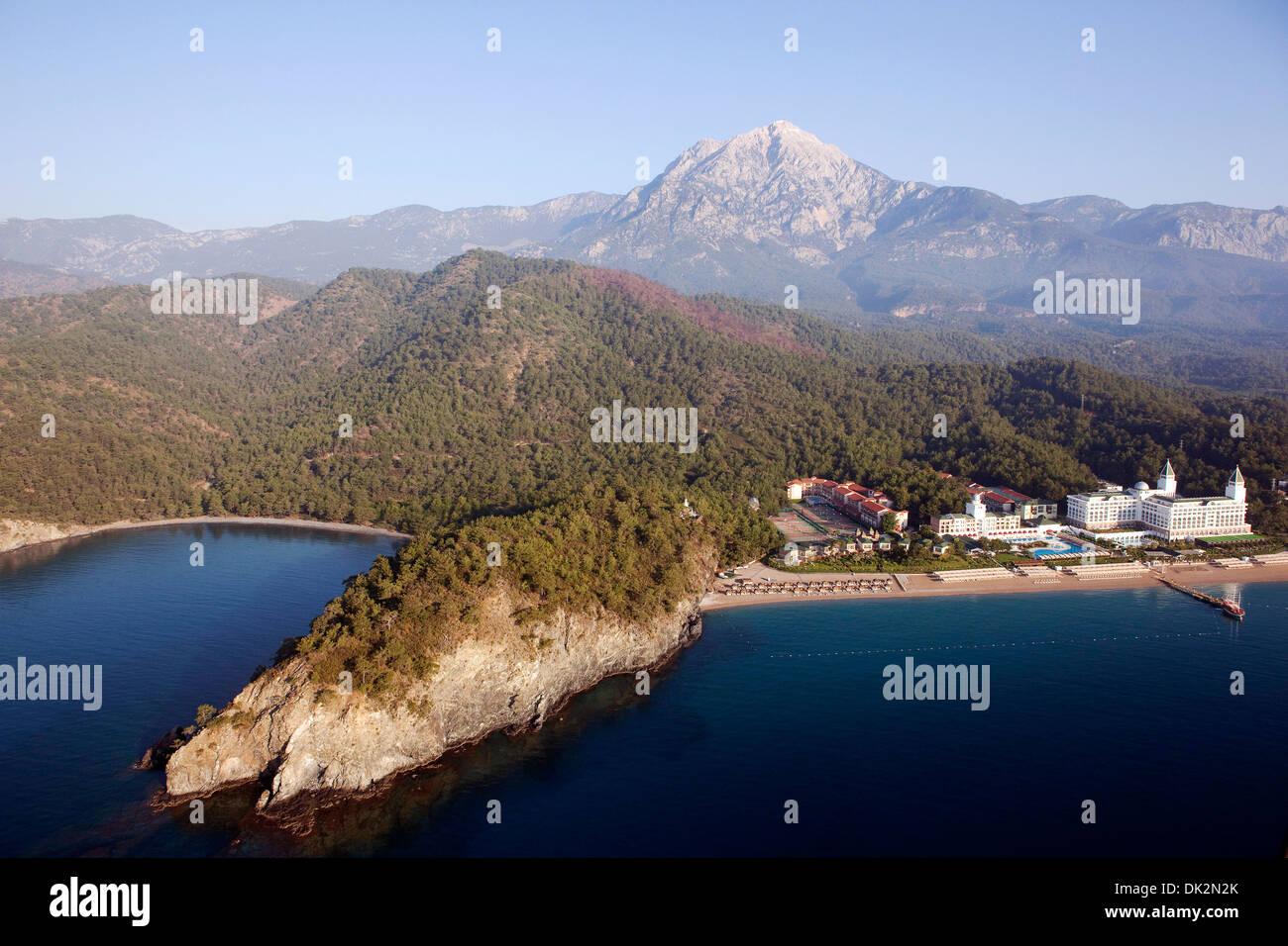 Aerial view of Tekirova Beach and Amara Dolce Vita Hotel Antalya Turkey Stock Photo