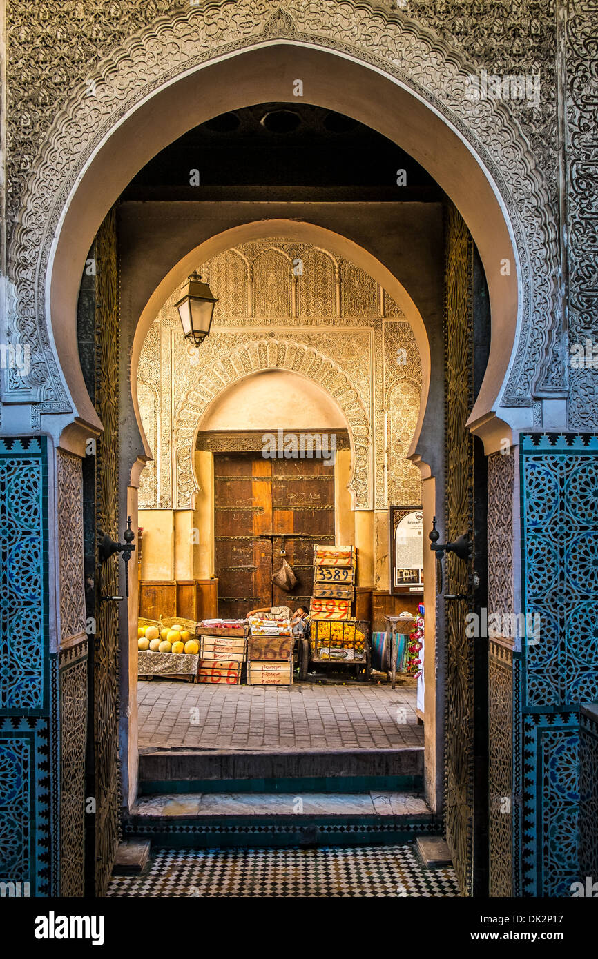 Fes, typical moroccan door to the old medina - Stock Image